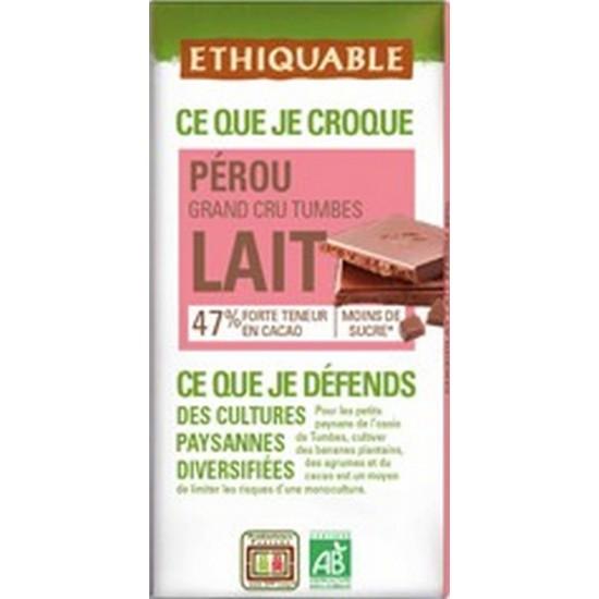 Chocolate Leche Cacao 47% Bio 100gr Ethiquable